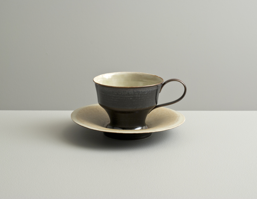 2013 High-footed cup with saucer in variegated ivory and silver-black glazes (#130421)