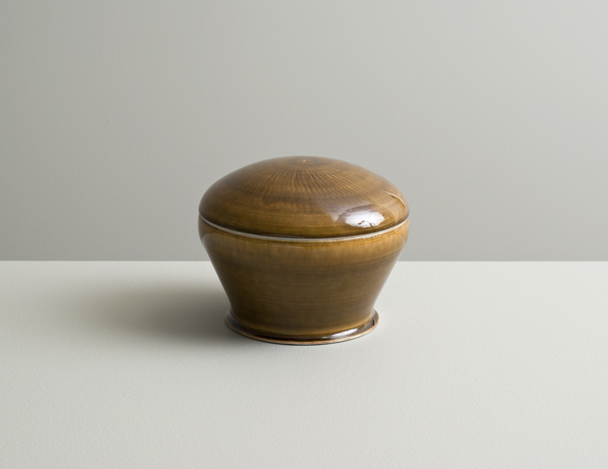 2013 Lidded box in celadon and amber glazes (#130411)