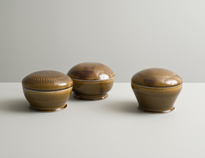 2013 Three lidded boxes in celadon and amber glazes