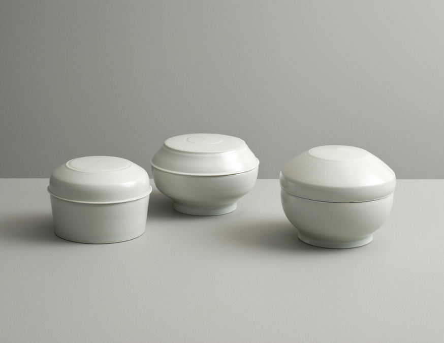 2013 Three lidded boxes in celadon glazes