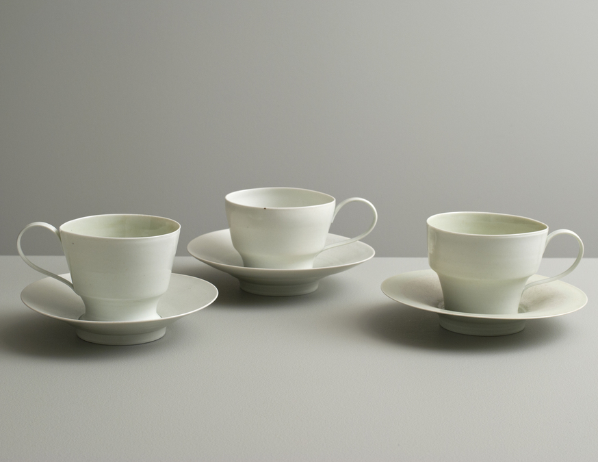 2013 Three cups with saucers in celadon glazes