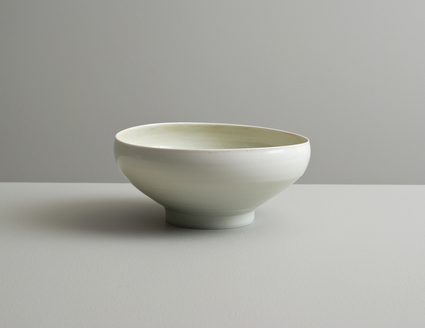 2013 Translucent bowl in variegated celadon glazes (#130404)