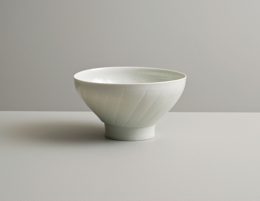 2013 Fluted bowl with high foot in celadon glaze (#130406)