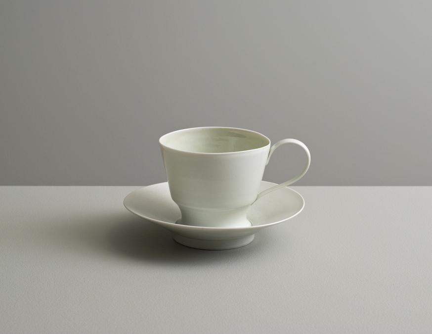2013 Cup and saucer in pale-green and pale-blue celadon glazes (#130407)