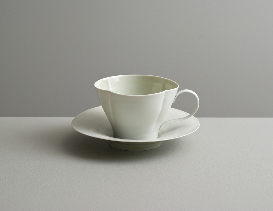 2013 Scalloped cup with saucer in celadon glazes (#130409)