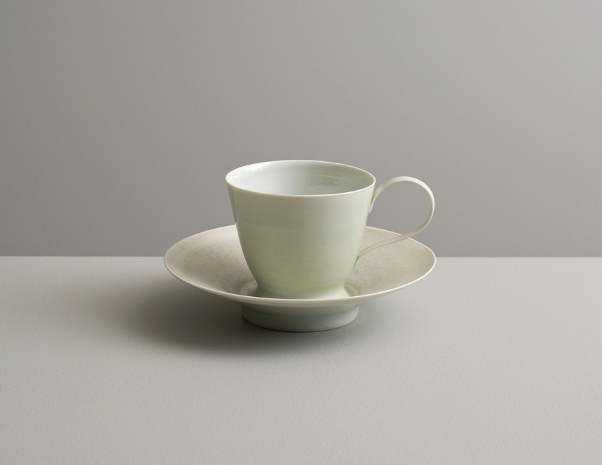 2013 Cup and saucer in celadon and jade glazes (#130415)