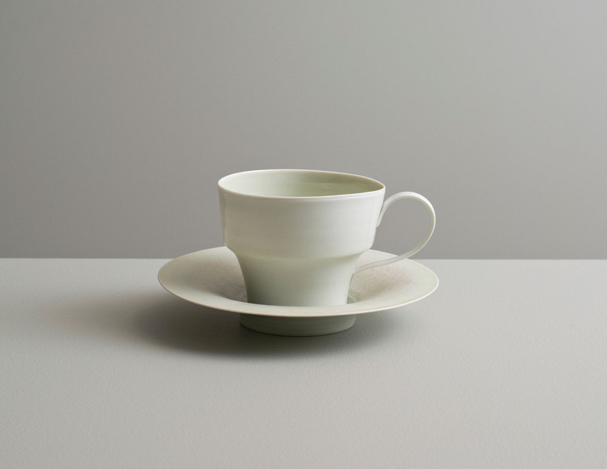 2013 Cup and saucer in pale-green celadon and variegated satin-green glazes (#130425)