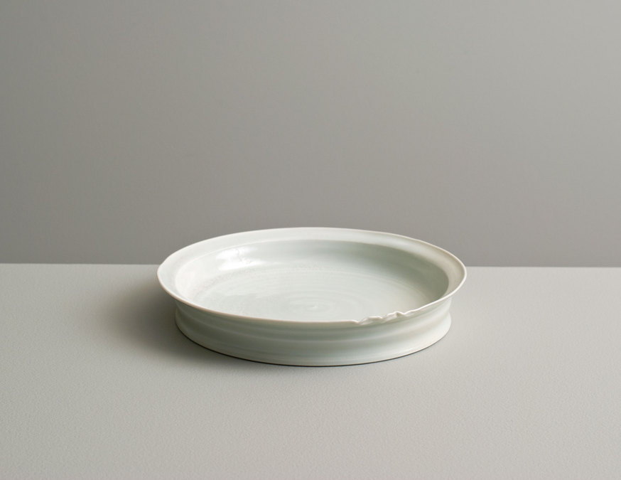 2013 Small rippling plate in water-celadon glaze (#130418)
