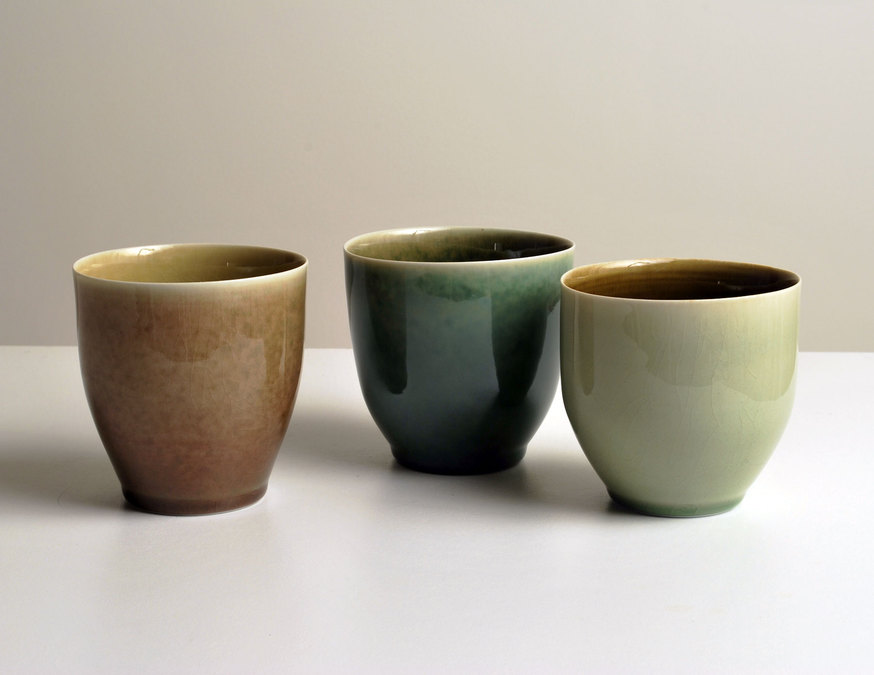 2010 Three teabowls in golden, rose, green and amber glazes