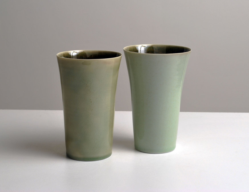 2010 Two tall cups in jade-green and moss-green glazes