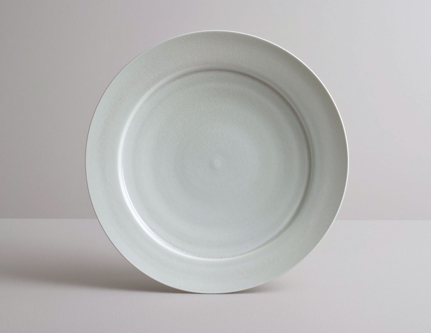2014 Large plate in variegated celadon glaze (#140349)