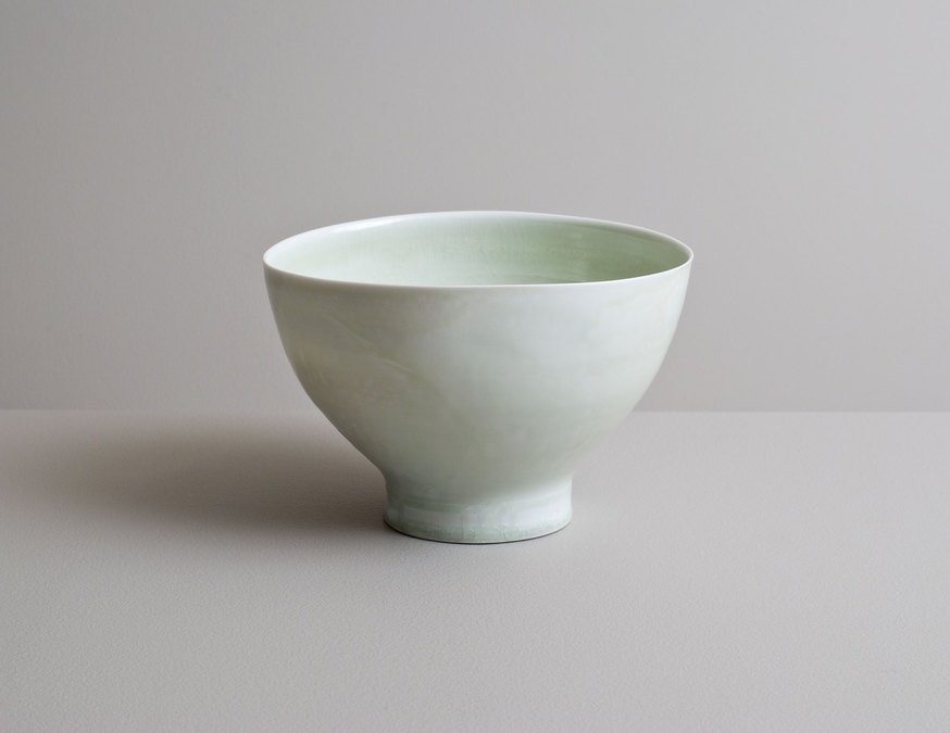2014 Tall bowl in running celadon glazes