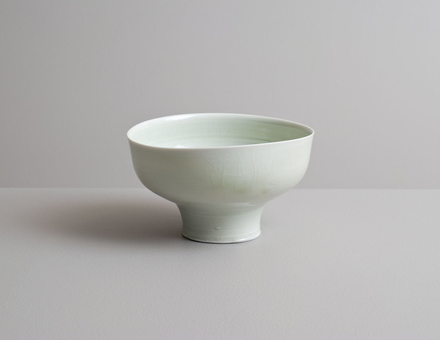 2014 High-footed bowl in running celadon glazes (#140309)