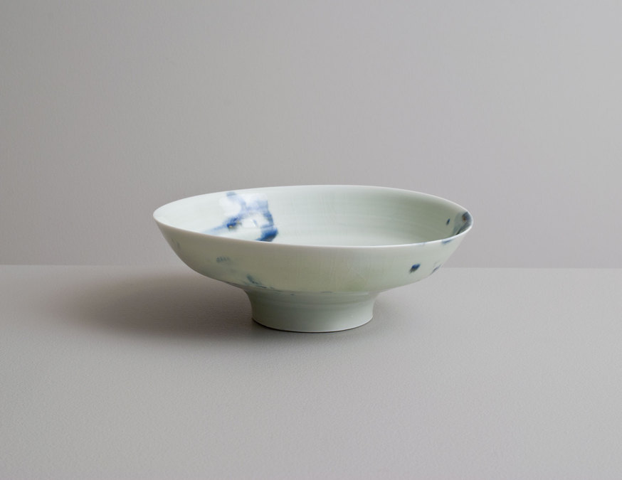 2014 Low bowl in celadon with cobalt underglaze (#140335)