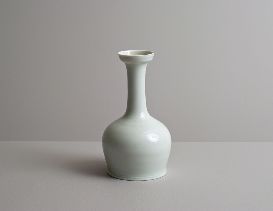 2014 Bottle in jade and celadon glazes with cobalt underglaze banding