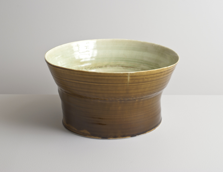 2014 Large lilting form in variegated ivory-green and running amber glazes (#140238)