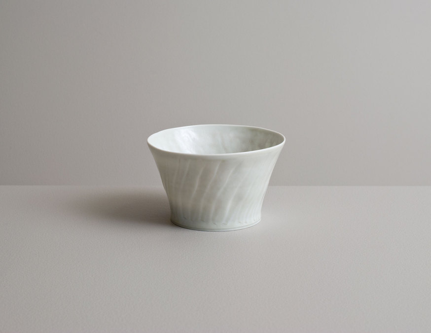2014 Translucent fluted teabowl in ash glaze
