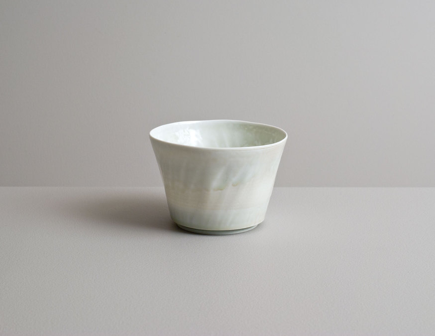 2014 Translucent fluted teabowl in running celadon glaze (#140319)