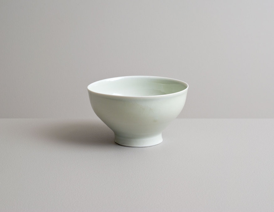 2014 Small footed bowl in celadon glaze with cobalt underglaze banding
