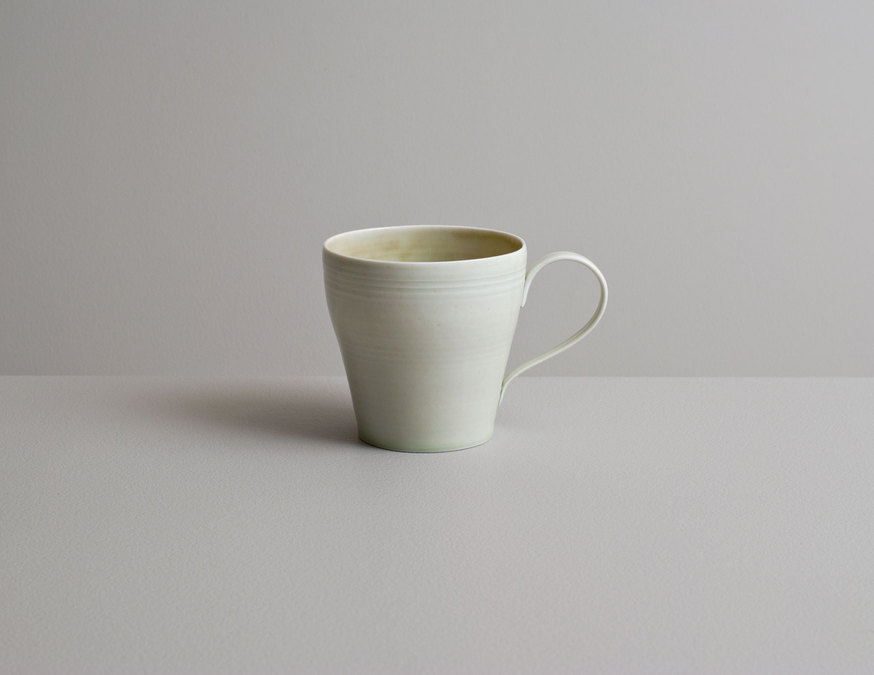 2014 Cup in variegated ivory-green and celadon-green glazes (#140302)