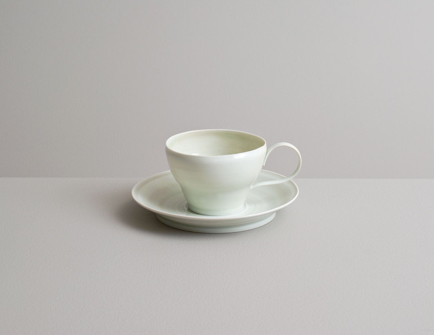 2014 Demitasse with saucer in variegated ivory-green and celadon glazes (#140205)