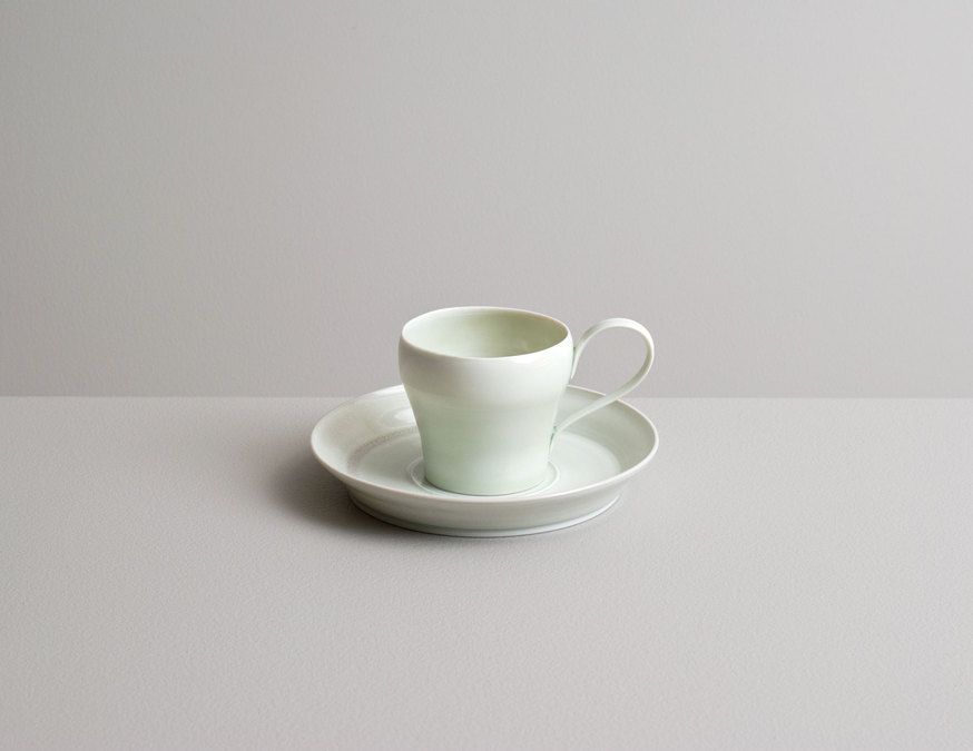 2014 Espresso cup with saucer in celadon glazes (#140209)