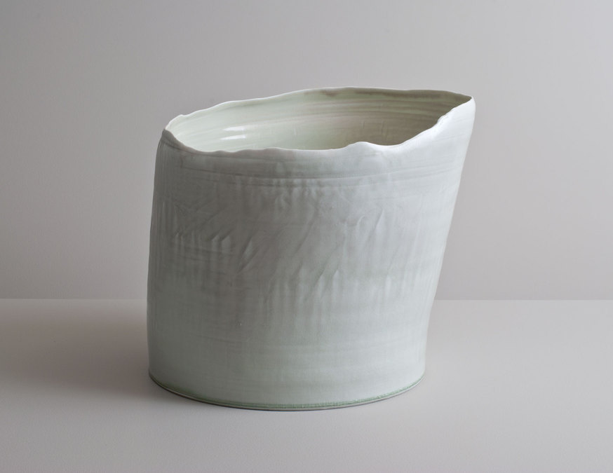 2014 Large leaning form with undulating rim in muted celadon glazes (#140315)