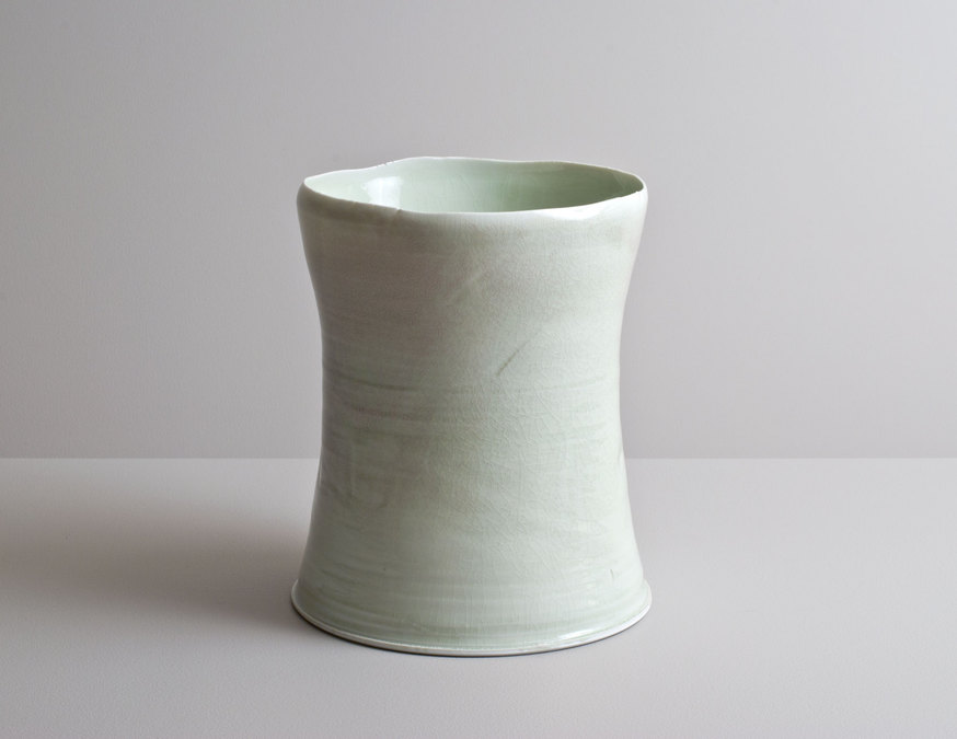 2014 Tall form with undulating lip in variegated celadon glazes (#140318)