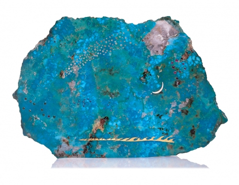 Bradley H. Olsen-Ecker Turquoise Scupture Turquoise, 23 carat gold leaf, whale ivory and precious gems.