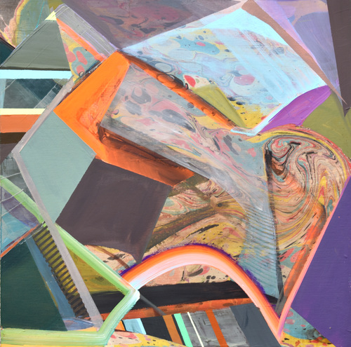 Jenniffer Omaitz Marbled Geometry Gouache and Acrylic on Panel