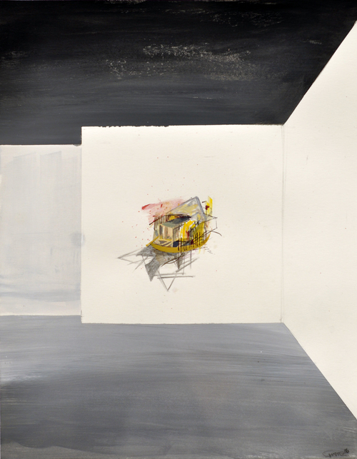 Jenniffer Omaitz Hypothetical Constructs & Translucent Boundaries: with Andy Curlowe, (Adrian, MI) Graphite and Gouache on paper