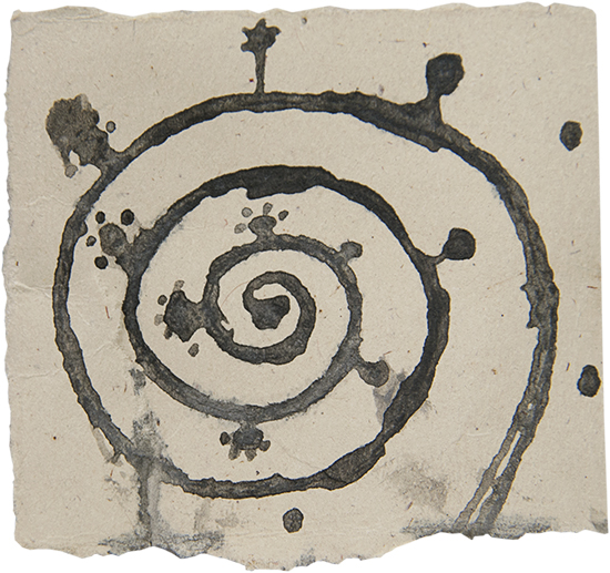 Ink and Ink Wash Spored Spiral