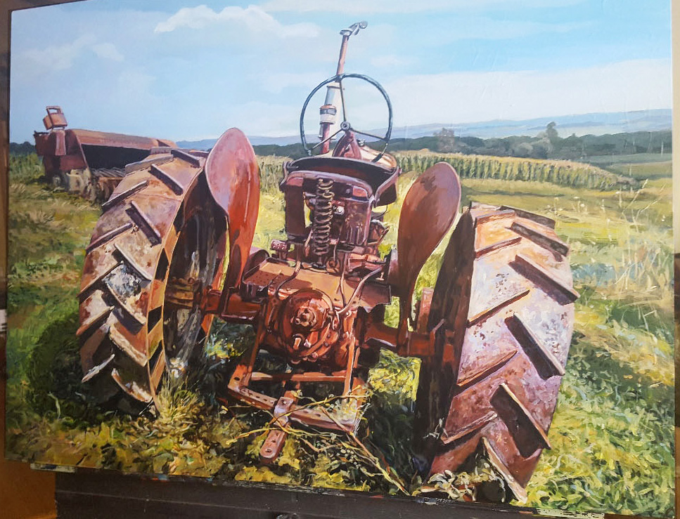 "Ray Guzman - Paintings      7/8/7/31/20 Tractor ""T2 IN THE FIELD"""