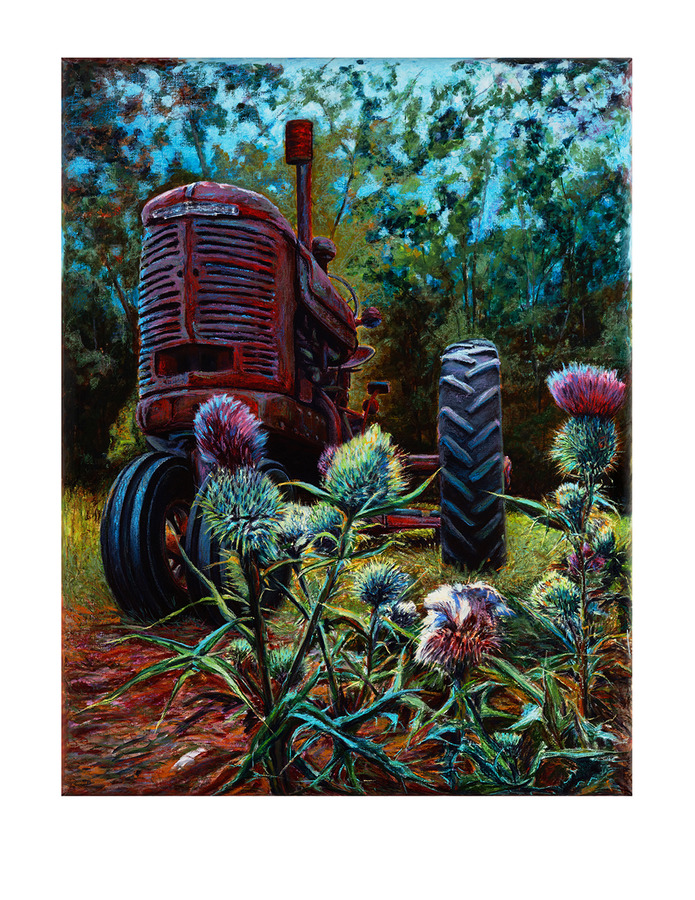 Ray Guzman - Paintings      7/8-7/31/20 Tractor & Thistle