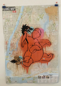 "Palette Gallery Fabrika Ouch ""Pricey Fun""  4/20-5/29/16 Mixed media on NY Bike Map"
