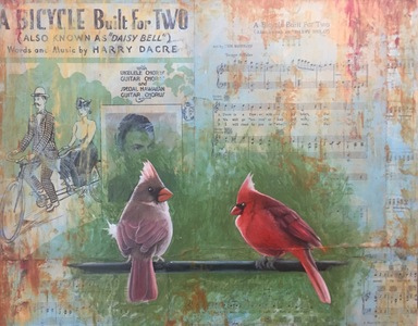 "Palette ArtSpace ""For The Birds"" Group Show- July 5 - Aug 26, 2017 Paper, oil, wax"