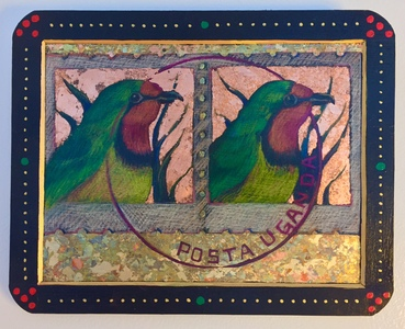 "Palette Online ArtSpace ""For The Birds"" Group Show- July 5 - Aug 26, 2017 Pencil and gilding on slate"
