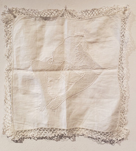Palette ArtSpace Passionate - Group show Feb-Mar 2019 Embroidered antique handkerchief (look closely!)