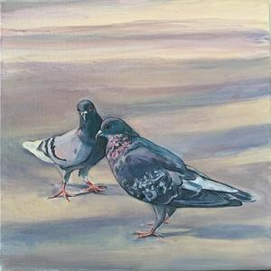 Palette Online ArtSpace Lynda D'Amico: For The Love of Pigeons Oil on canvas
