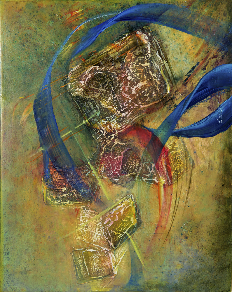 Pamela Crockett  Nataraja's Belt Oil paint and mixed media on wood panel