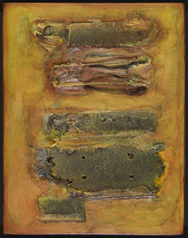 Pamela Crockett Everyday Relics Oil paint and found objects on wood panel