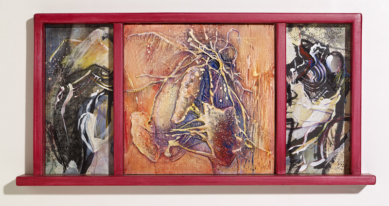 Pamela Crockett Windows for Oliver Sacks Oil paint and textures on wood, mixed media on paper