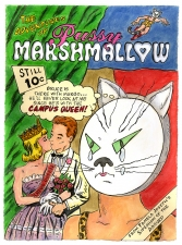 Pamela Joseph PUSSY MARSHMALLOW COMIC BOOK COVERS Watercolor, Gouache, and Ink on Paper