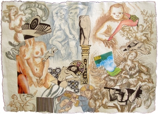 Pamela Joseph LA MADONA DESNUDA Ink, Watercolor, Pencil, & Collage