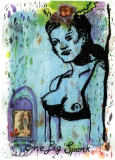 Pamela Joseph LA MADONA DESNUDA Watercolor, Ink, and Collage on Paper