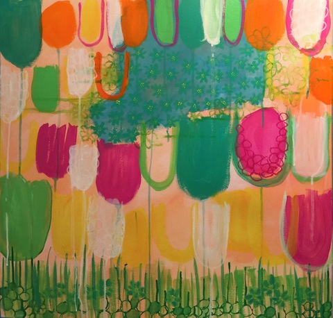 PAMELA STODDART Flower Fields Acrylic/Ink/Oil Pastel on Paper
