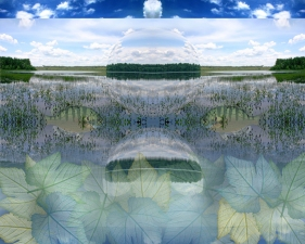 "Pat Cresson • Altered Photographic Landscapes Giclee print on 2"" wooden cradle"