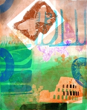 Pat Cresson + Printmaking > Gelatin Monoprints Gelatin Monoprint and stencil