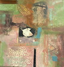 Pat Cresson +  Recent Work > Oil/Wax Painting on Wood Panels Collage with oil and cold wax on birch cradle