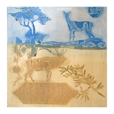 PAT CRESSON + Recent  Work > Movable Monoprints oil and chine collie stencil monoprint
